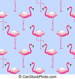 Seamless vector pattern with flamingo exotic bird.