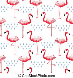 Seamless vector pattern with flamingo pink bird.