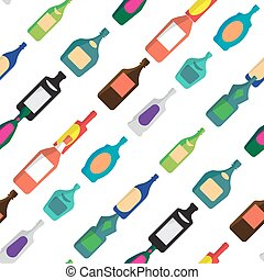 Seamless vector pattern with flat bottles of alcoholic beverages