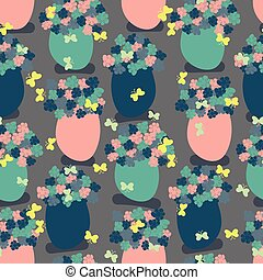 seamless vector pattern with flower vases and butterfliess