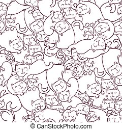 Seamless vector pattern with funny cats.