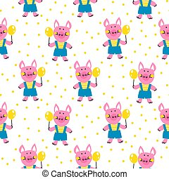 Seamless vector pattern with funny pigs.