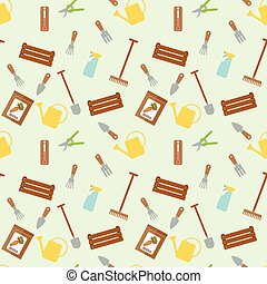 Seamless vector pattern with garden tools and packages with seeds of carrot on light yellow background.