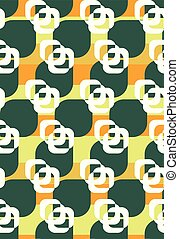 Seamless vector pattern with geometric roses in vintage colors.