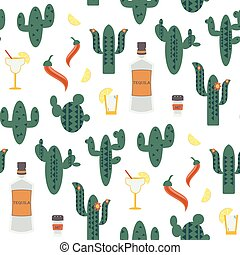 Seamless vector pattern with green cactuses on white background