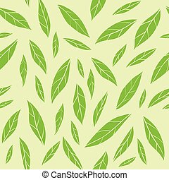 Seamless vector pattern with green tea leaves. Fashion print, wrapping paper, wallpaper design