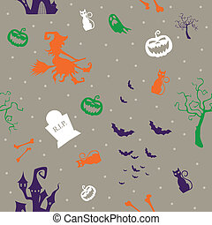 Vector Pattern with Halloween Icons