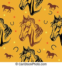 Seamless vector pattern with horses