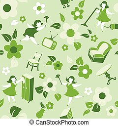 Seamless vector pattern with housewives, household utensils, tableware.