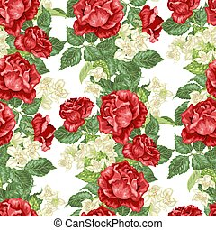 Seamless vector pattern with jasmine and rose flowers