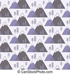 Seamless vector pattern with mountains and trees