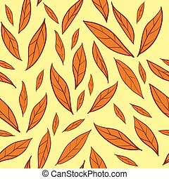 Seamless vector pattern with orange autumn leaves