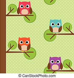 Seamless vector pattern with owls