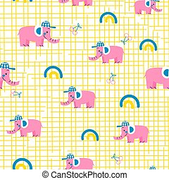 Seamless vector pattern with pink elephants.