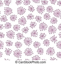 Seamless vector pattern with pink flowers on white
