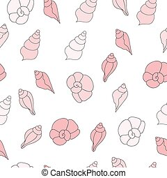 Seamless vector pattern with pink sea shells on the white background