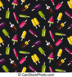 Seamless vector pattern with popsicles