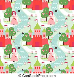 Seamless vector pattern with prince