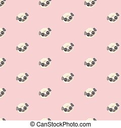 Seamless vector pattern with pug.