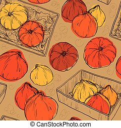 Seamless vector pattern with Pumpkin.