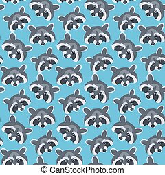 Seamless vector pattern with raccoons