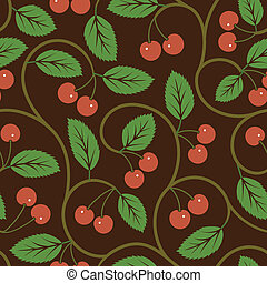 seamless vector pattern with red cherries
