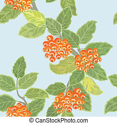 Seamless vector pattern with rowan leaves and rowanberries