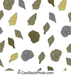 Seamless vector pattern with sea shells on the white background