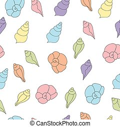 Seamless vector pattern with seashells of soft colors on the white background
