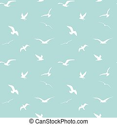 seamless vector pattern with silhouettes of the gulls