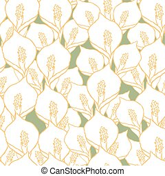Seamless vector pattern with spathiphyllum flowers on green