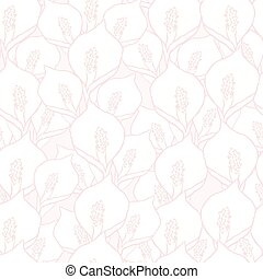 Seamless vector pattern with spathiphyllum flowers on pink