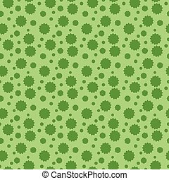 Seamless vector pattern with stylized leaves placed randomly on green background.