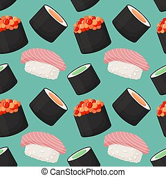 Seamless vector pattern with sushi