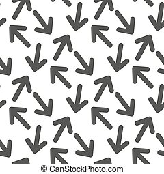 Seamless, vector, pattern with the image of arrows flying forward, on a white background.