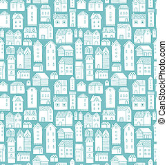Seamless vector pattern with various cartoon houses.