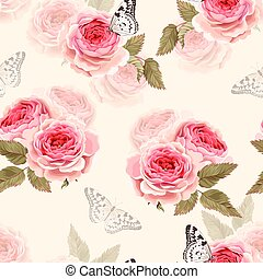 Seamless vector pattern with vintage pink roses