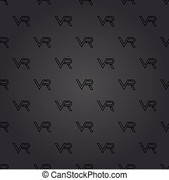 Seamless Vector Pattern With VR Logos - Seamless vector dark...