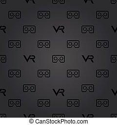 Seamless Vector Pattern With VR Logos - Seamless vector dark...