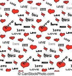Seamless vector pattern with white hearts.