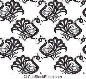 Seamless vector peacock background