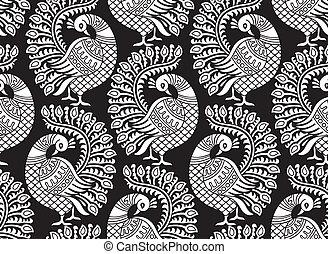 Seamless vector peacock design