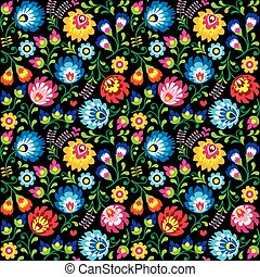 Seamless vector Polish folk art floral pattern - Wzory...
