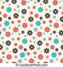 Seamless Vector Retro Flat Design Flowers Background