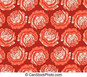 seamless, vector, rosa, flor