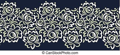 Seamless vector rose flower border design