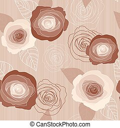 Seamless vector roses pattern on pink background
