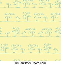Seamless vector sketch flowers pattern blue on yellow