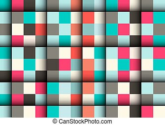 Seamless Vector Square Pattern - Abstract Retro Squares Background