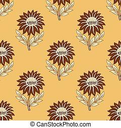 Seamless vector sunflower pattern design